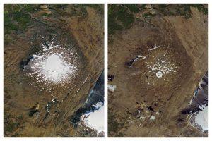 नासाने ओकजोकुलचे १४ सप्टेंबर १९८६ (डावीकडे)आणि १ ऑगस्ट२०१९ (उजवीकडे) घेतलेले फोटो. हिमनदीचे आकुंचन पावलेले क्षेत्र.