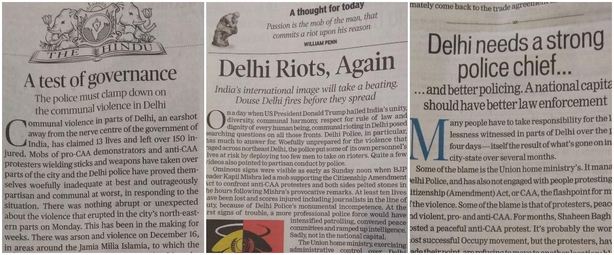 वृत्तपत्रांच्या संपादकीयांमध्ये दिल्ली पोलिसांचा निषेध