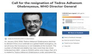 Change.org वर डॉ. टेड्रोस यांच्या राजीनाम्यासाठी चाललेली याचिका.