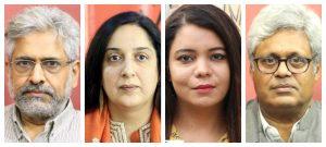 सिद्धार्थ वरदराजन, स्वाती चतुर्वेदी, रोहिणी सिंह, एमके वेणु. (सर्व फोटो: द वायर)